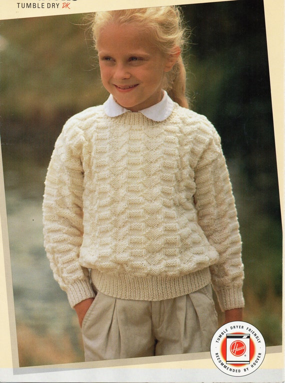 Baby Toddler Childrens Sweater Knitting Pattern Crew Neck Etsy