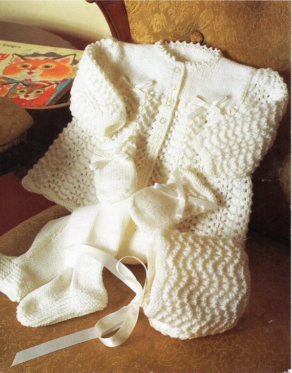 e5e2e4910 baby 4ply pram set knitting pattern PDF matinee coat bonnet