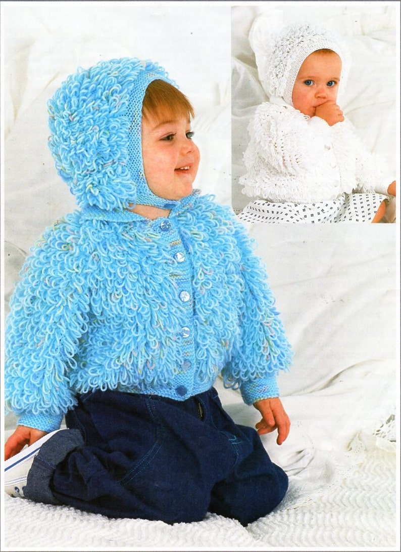 d48fea32a847 Baby   childs DK loopy jacket hat knitting pattern pdf baby