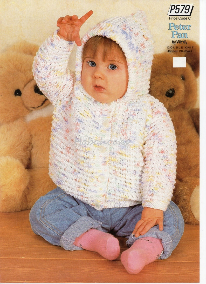 f111602a9 Baby knitting pattern pdf baby hooded jacket cardigan with
