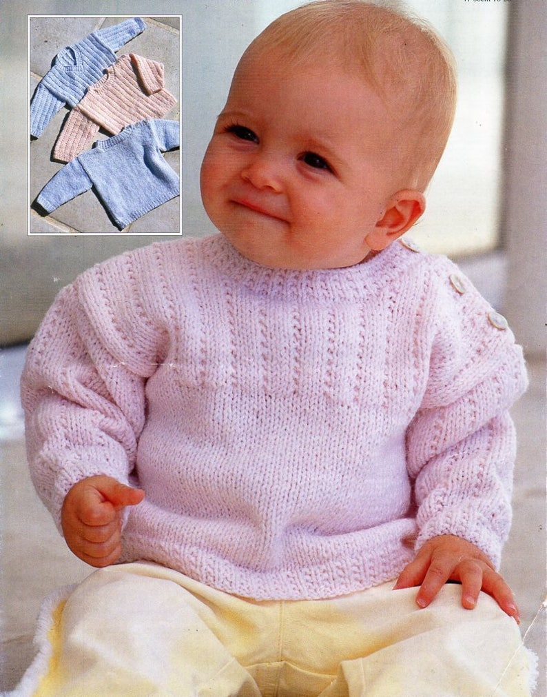 f86e5ebdd Baby KNITTING PATTERN pdf baby   childs sweaters button