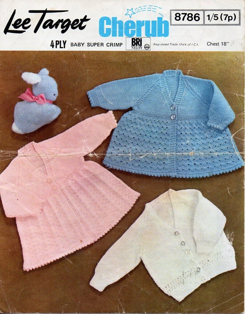 b05cad64c Vintage baby 4ply matinee coat cardigan knitting pattern pdf