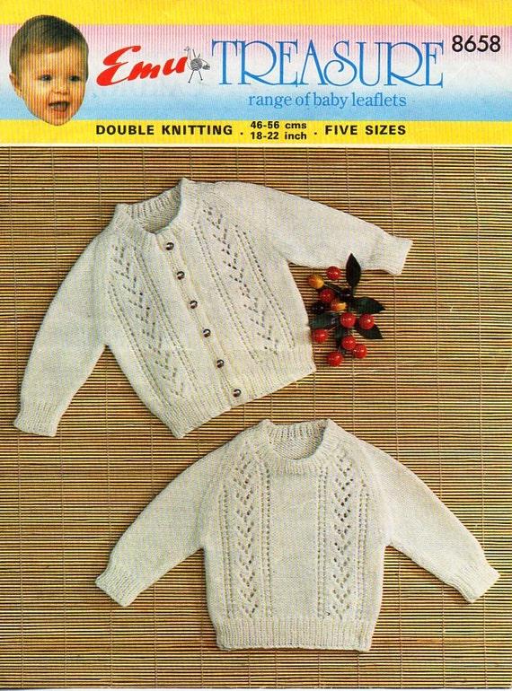 81ca2422ea68 Vintage baby jumper and cardigan knitting pattern pdf DK baby