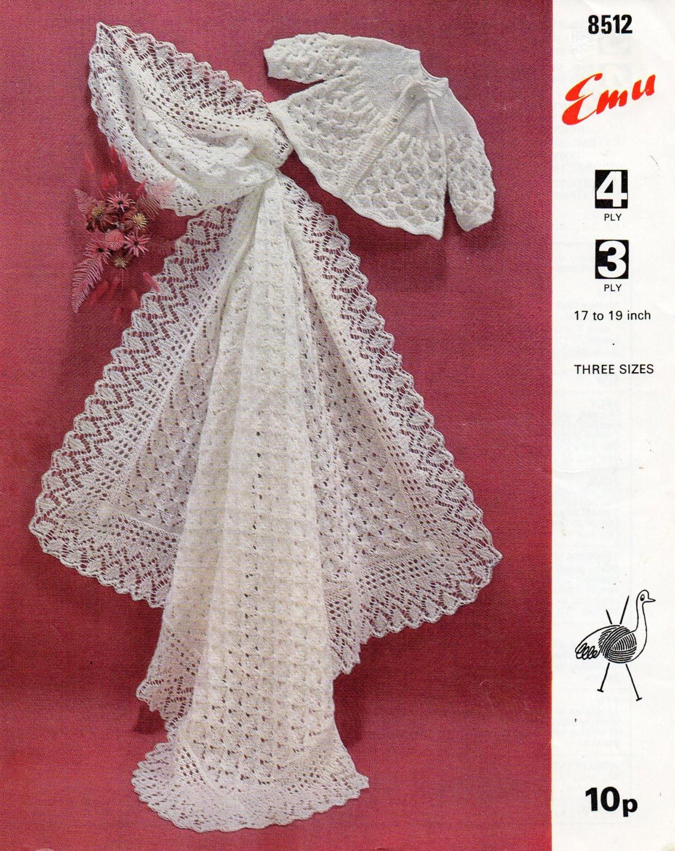 Baby Shawl Knitting Pattern Pdf Matinee Coat Square Shawl Etsy
