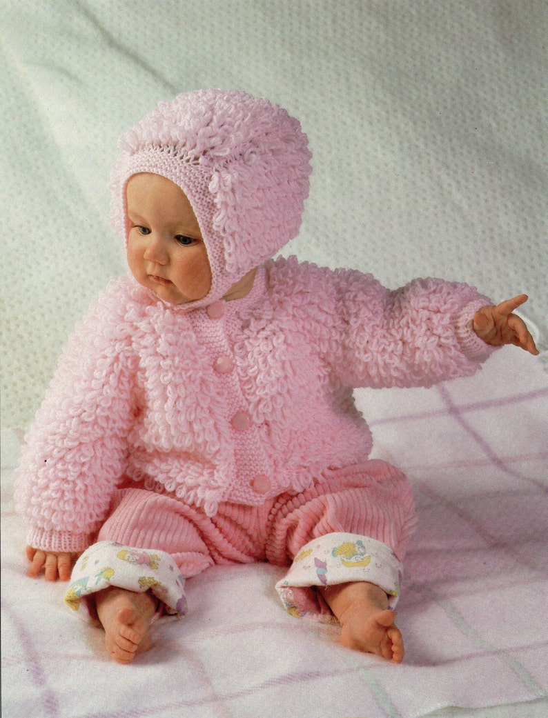 255a17882 Baby Knitting Pattern Baby Loop Stitch Cardigan Bonnet Baby