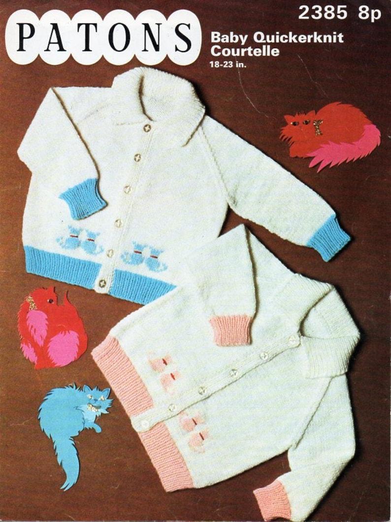 35a74e8ef Vintage baby cat motif cardigan knitting pattern pdf baby