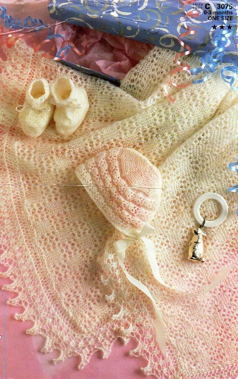 3f9167b64 Vintage 2ply baby shawl bonnet bootees knitting pattern pdf