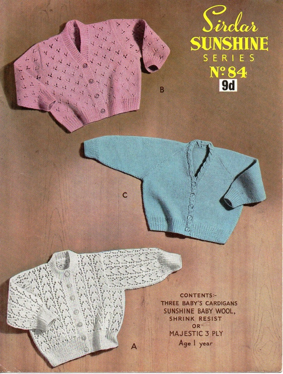 61eaa8cfa896 SALE vintage baby 3ply cardigans knitting pattern PDF baby