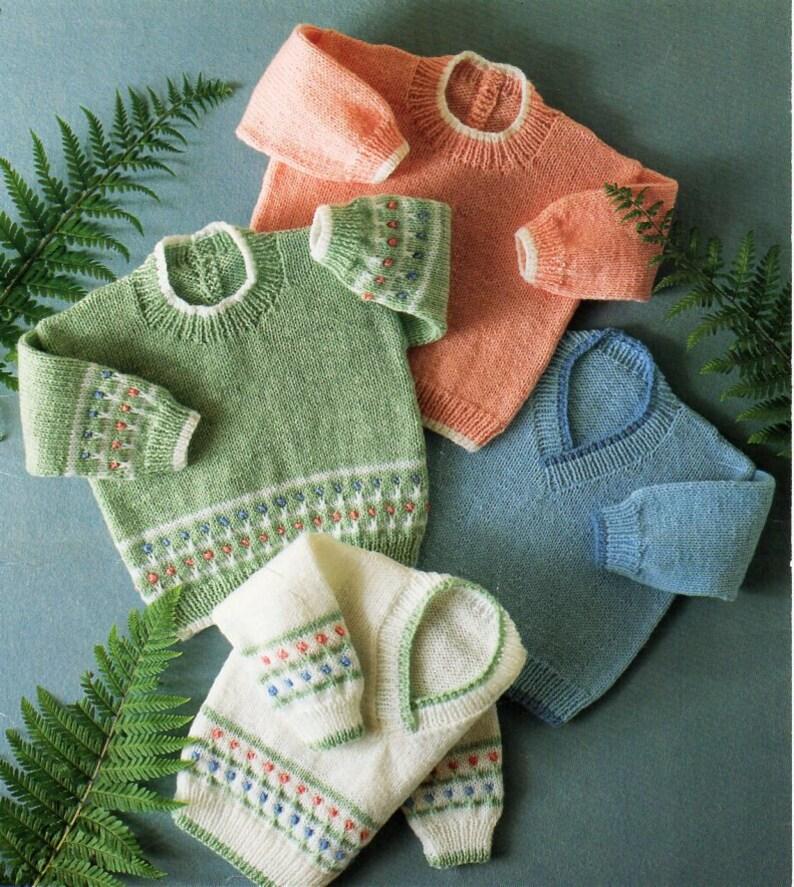 Baby childs DK sweaters knitting pattern pdf flower ...