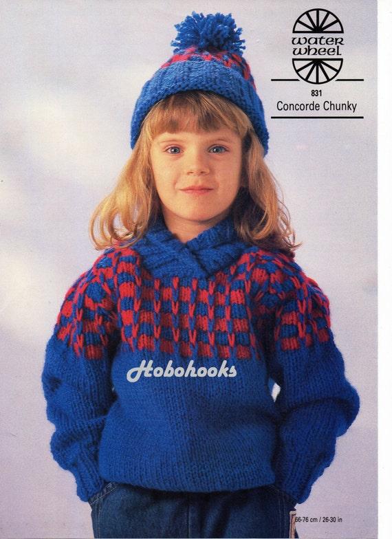 Childrens Knitting Pattern Childrens Chunky Sweater Shawl Etsy