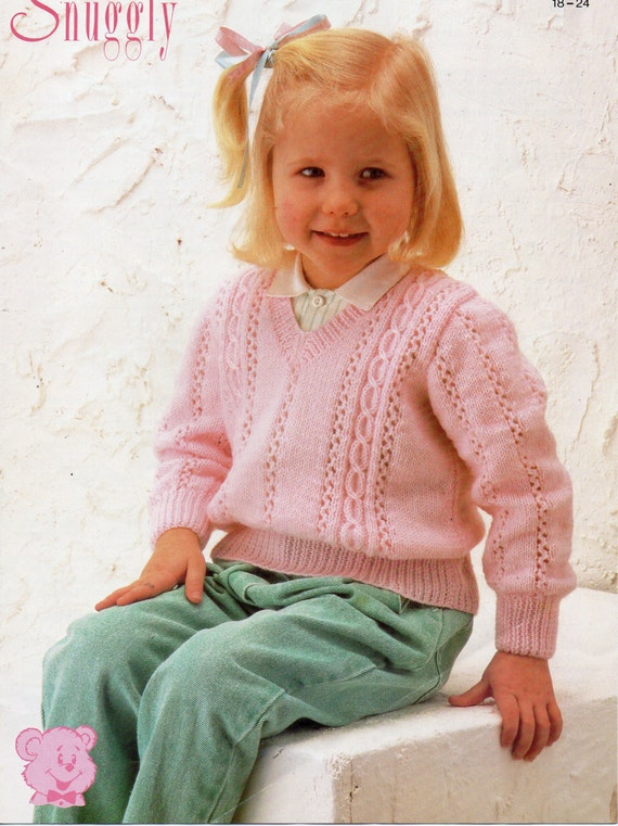 Baby V Neck Cable Sweater Knitting Pattern Pdf Download Etsy