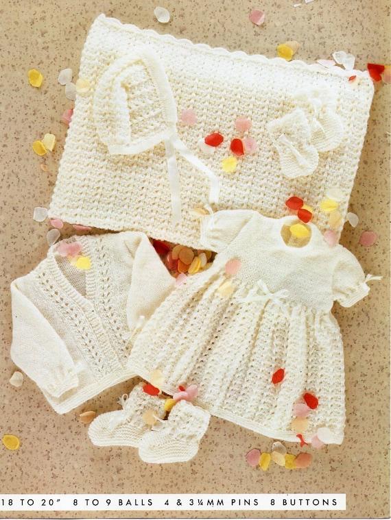 baby layette knitting pattern pdf baby girls dress cardigan | Etsy