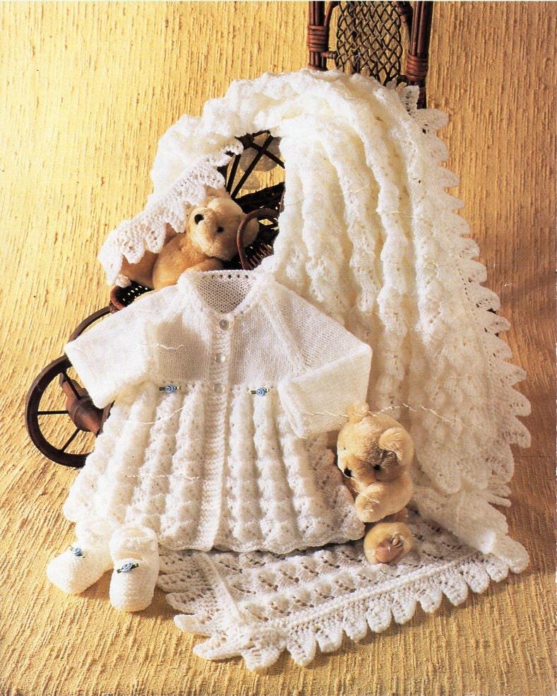 ebed60316e3f Baby shawl matinee jacket bootees knitting pattern pdf baby