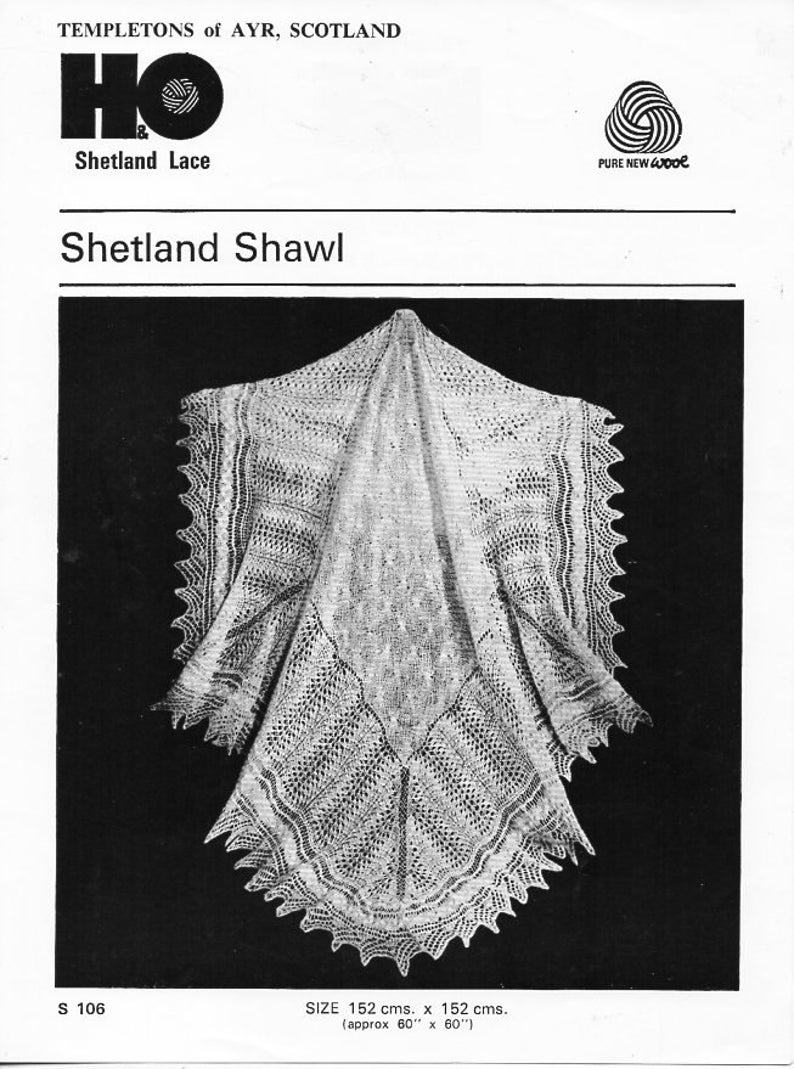 1e3b4edbe Vintage baby Shetland lace shawl Knitting Pattern PDF 2ply