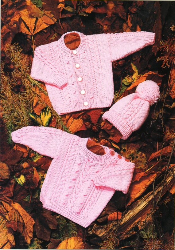 12c875f7b2ee baby aran sweater cardigan hat knitting pattern pdf cable