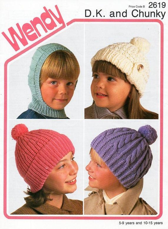 f24a407bcd2 childrens hats knitting pattern pdf DK   chunky childs caps