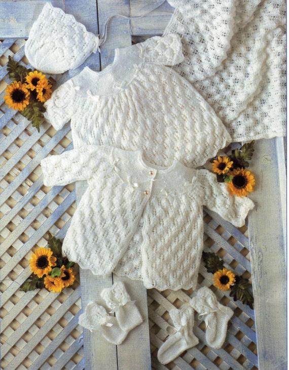 baby layette knitting pattern matinee coat dress shawl bonnet | Etsy