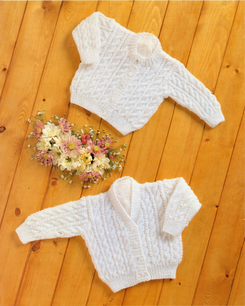 70ce53e67f49 Baby cable cardigans knitting pattern PDF premature baby DK