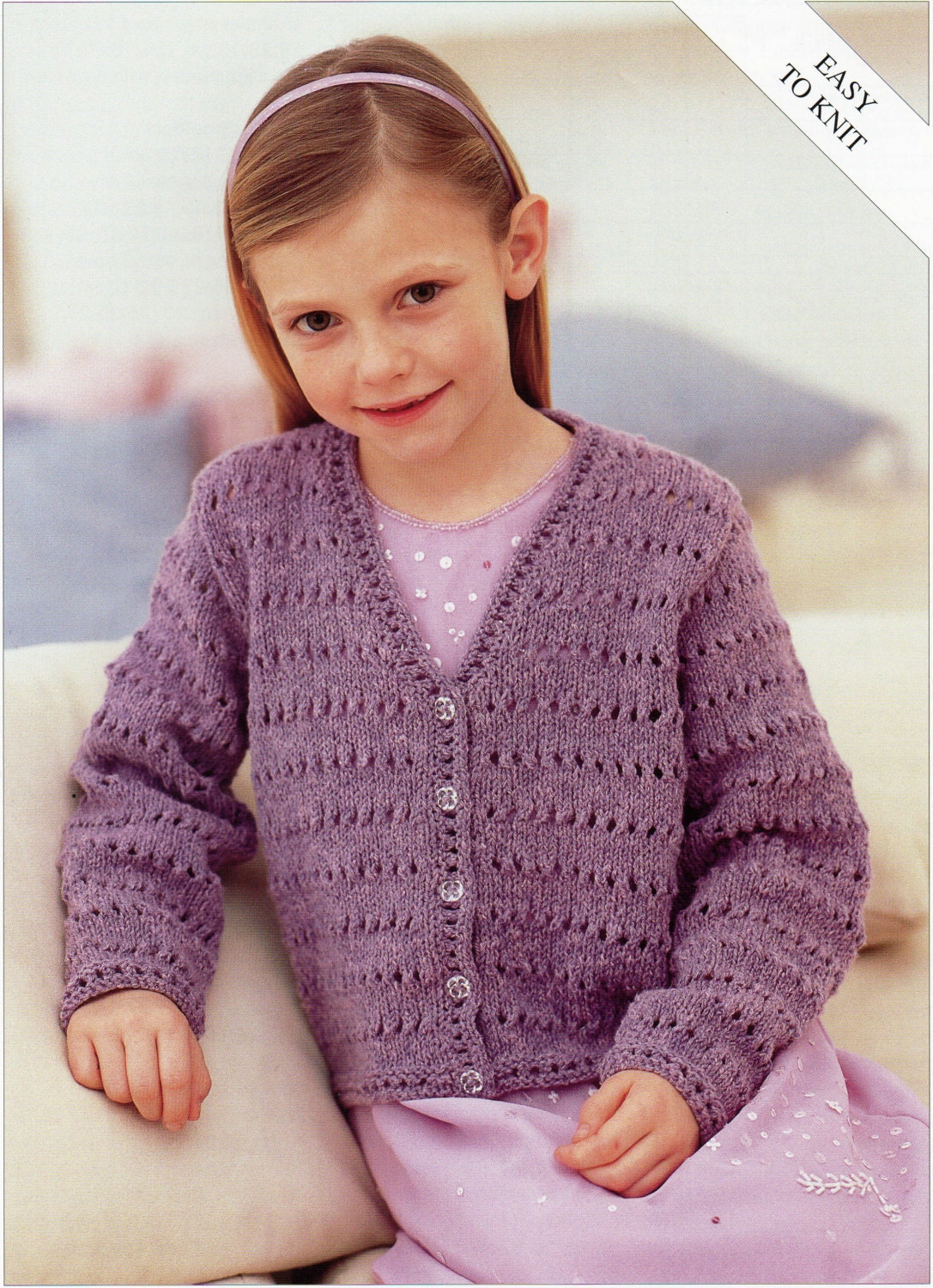 9cdf8ae91 Girls Knitting pattern Girls Cardigan Childs Cardigan Easy Knit V neck  Cardigan 22-32inch DK Childrens Knitting Pattern PDF Instant Download