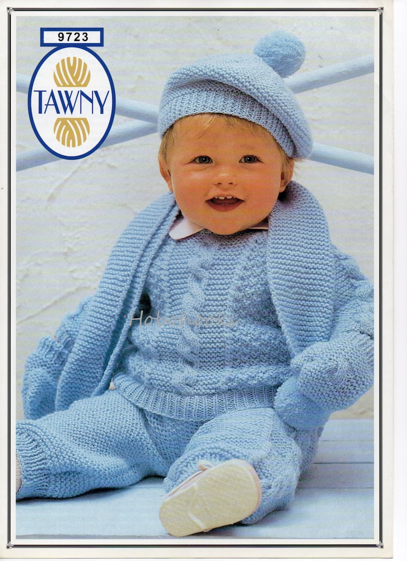 b51dc0725037 Baby cable sweater trousers scarf beret   mitts knitting