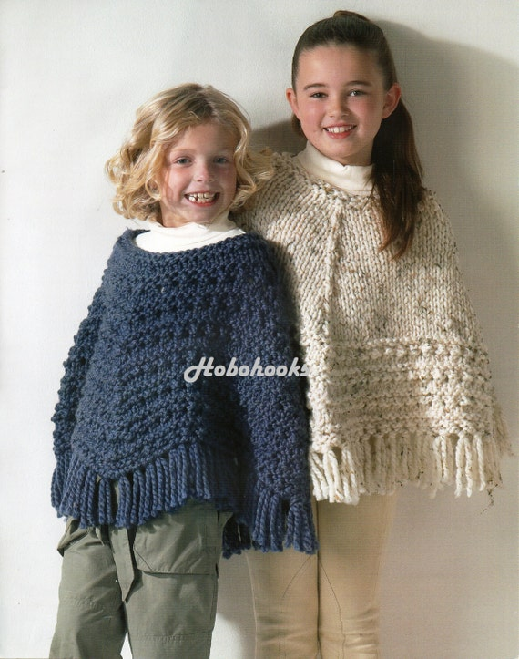 Girls Knitting Pattern Girls Ponchos Knitting Pattern Super Etsy