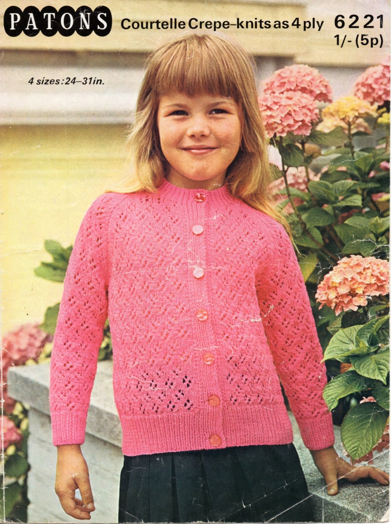 abbe29a41 Vintage girls 4ply cardigan knitting pattern pdf childrens
