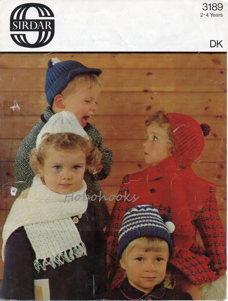 Vintage Baby Hat And Scarf Knitting Pattern Pdf Childrens Etsy