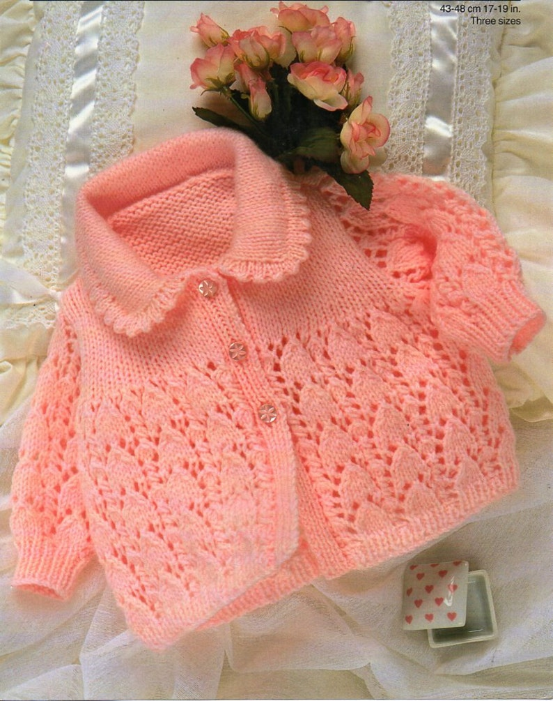 d9eb218b1 Baby matinee Coat Knitting Pattern lacy cardigan jacket collar