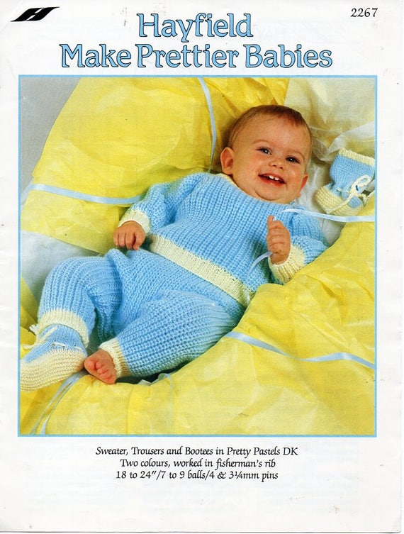 75e2f30449c4 vintage baby sweater trousers bootees knitting pattern pdf DK