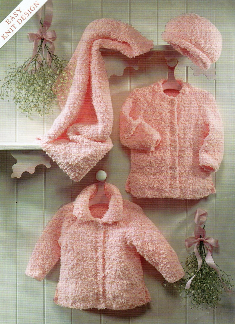 baby jackets hat and blanket chunky chenille cardigans newborn 16-26 inch  baby knitting patterns for babies pdf instant download