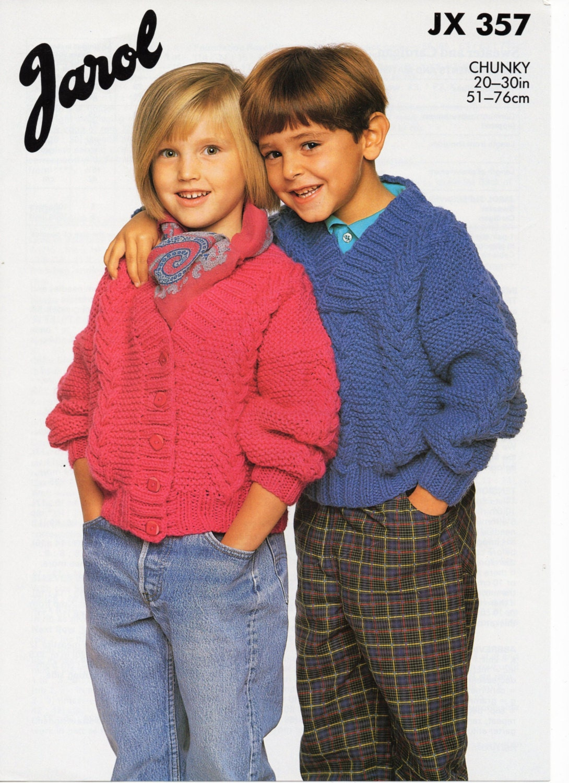 Childrens Knitting Pattern Chunky Sweater Chunky Cardigan Etsy