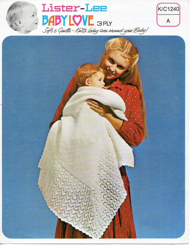 4ada4ecf89e9 Vintage 3ply baby shawl knitting pattern pdf square