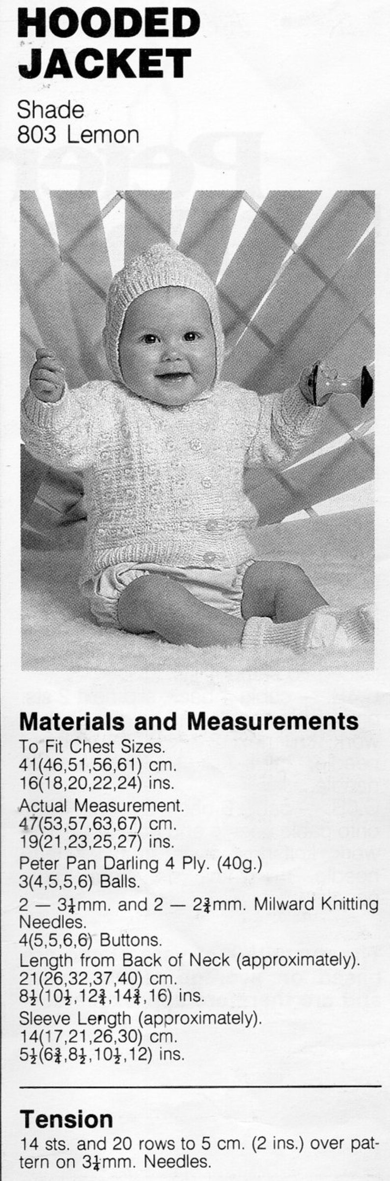 ad372002872e Baby 4ply Hooded Jacket knitting pattern pdf Hooded Cardigan