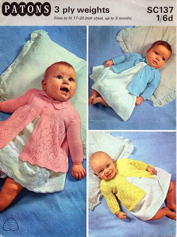 426a068c6c54 vintage baby matinee jacket knitting pattern pdf 3ply baby