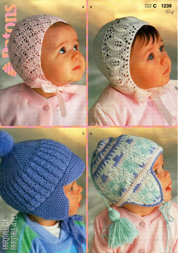 baby hat knitting pattern pdf baby lacy 4 ply bonnets 0 ...