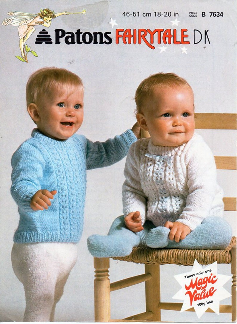 347ad56896ed Baby sweater knitting pattern pdf DK lacy jumper button