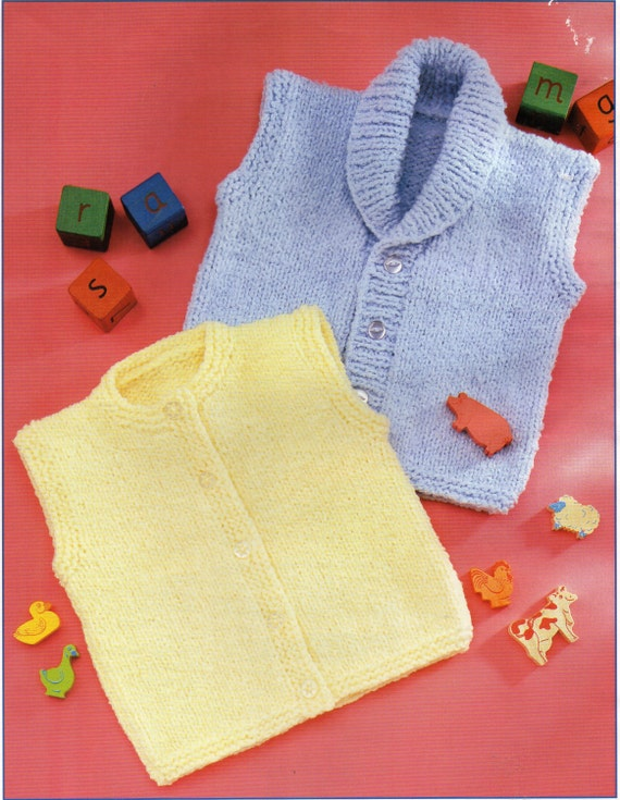 bb1a1ad71 Baby toddler childrens waistcoat knitting pattern pdf gilet