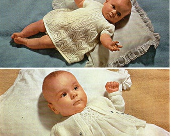 Baby Knitting Pattern pdf download Baby Girls Dress Matinee Coat Matinee Jacket Baby Dress 4 Ply Dress 18-19 inch instant download