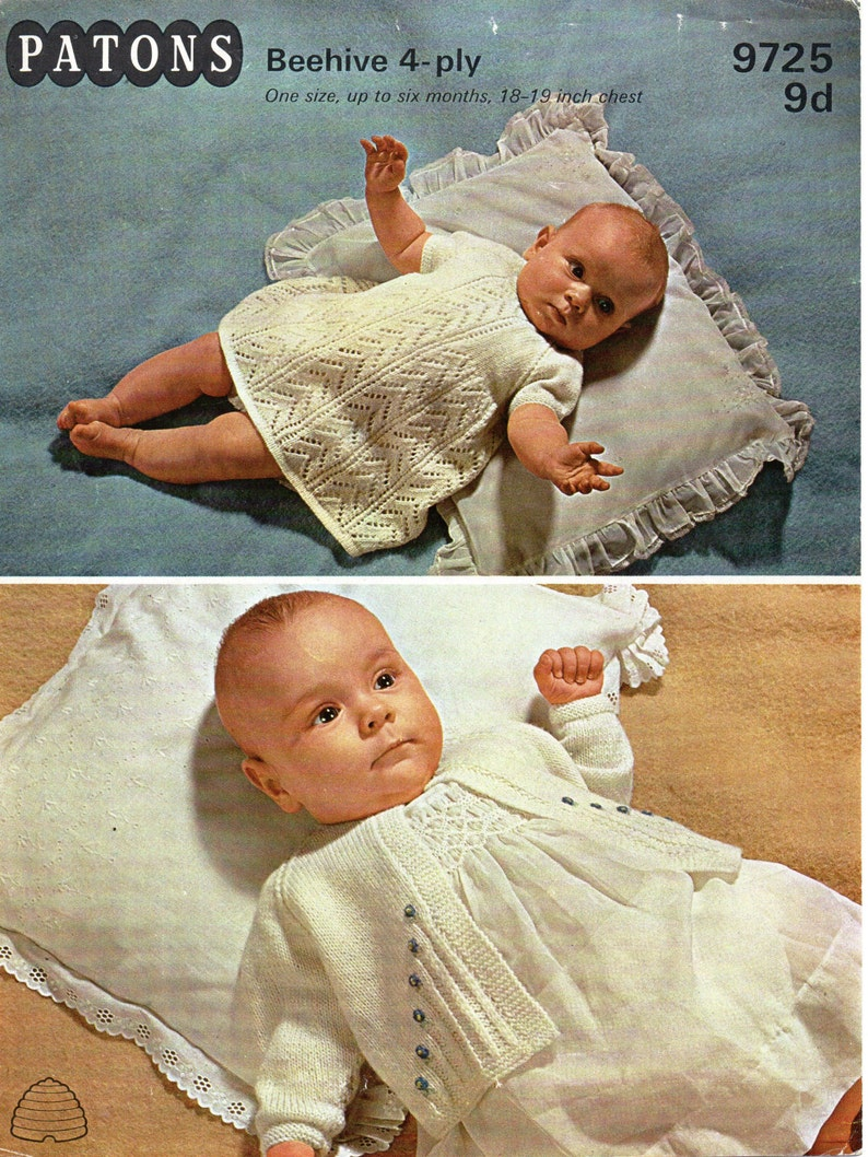 0a1f37cc8 Baby Knitting Pattern pdf download Baby Girls Dress Matinee