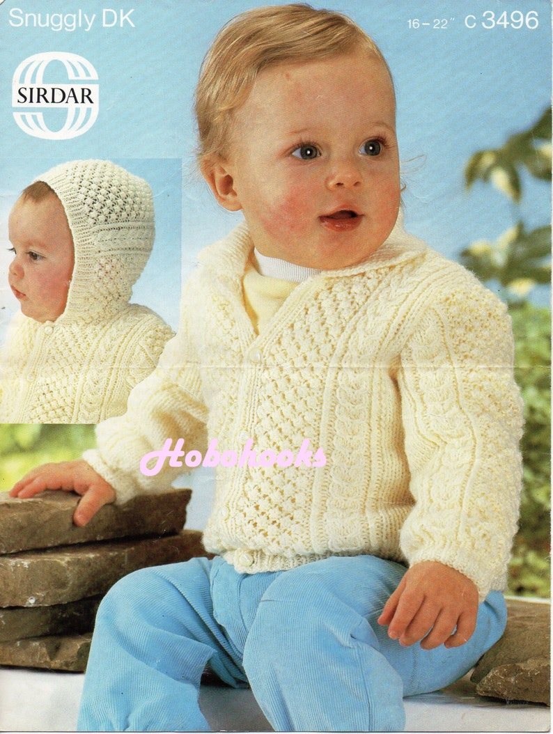 a0d9b179d811 Baby aran cardigan knitting pattern PDF baby cable hooded
