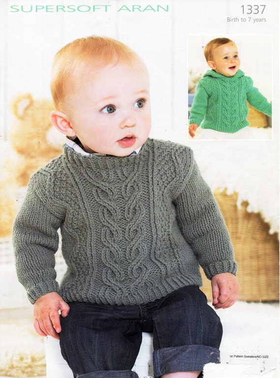 Knitting Pattern Photocopy Womans Aran Cable Cardigan /& Childs Hoodie Jacket