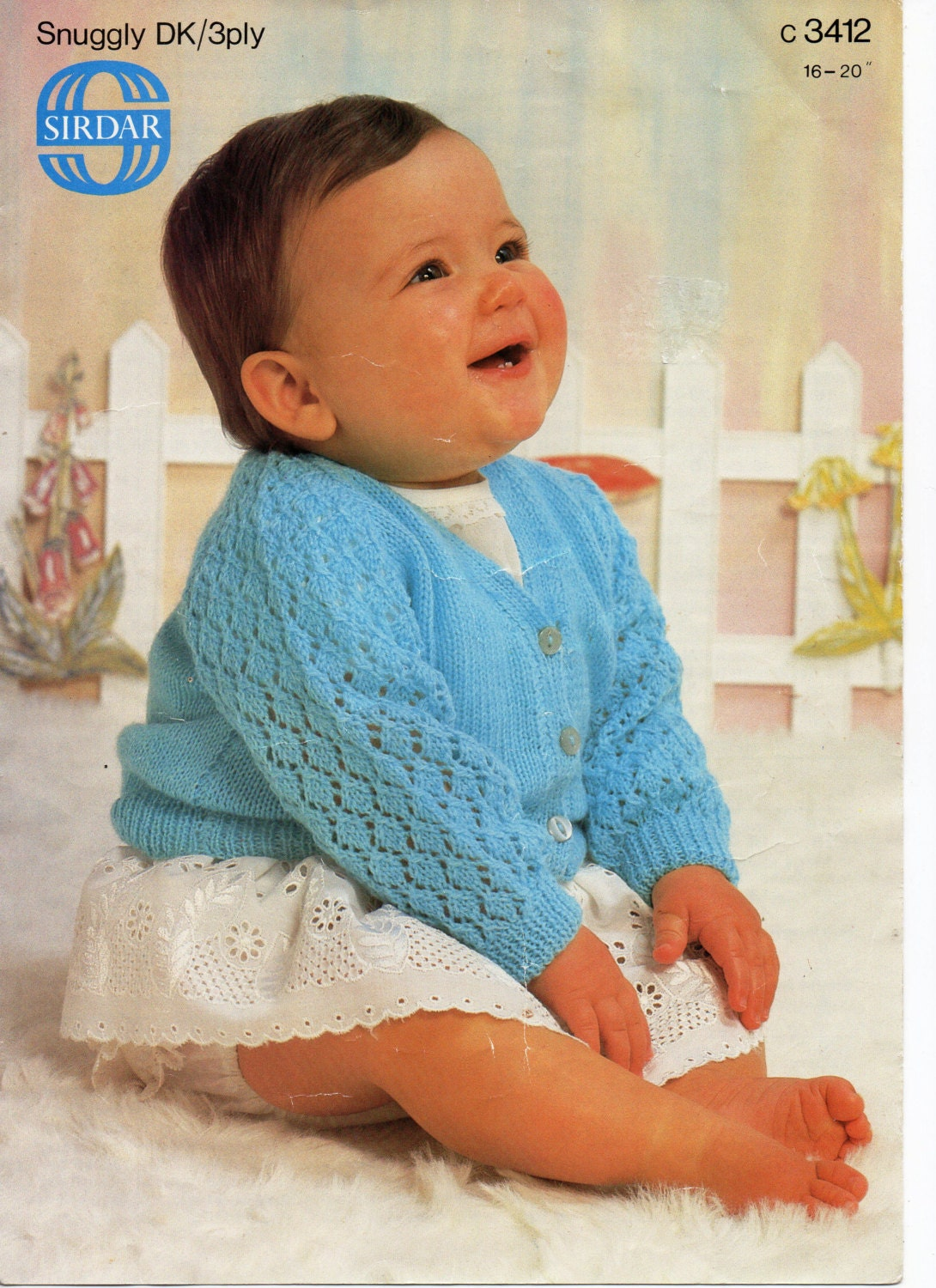 b3574a00e Baby Knitting Pattern pdf download Baby Cardigan Lacy Sleeves