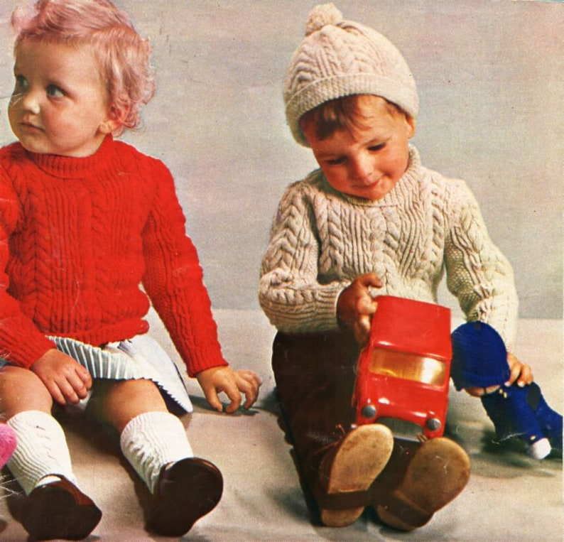 c5c9b6a10 Vintage baby aran sweater cap knitting pattern pdf baby cable
