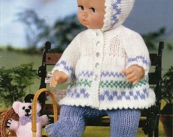 baby dolls clothes knitting pattern dolls pram set fairisle coat leggings bonnet matinee reborn 12-22inch doll DK dolls knitting pattern pdf