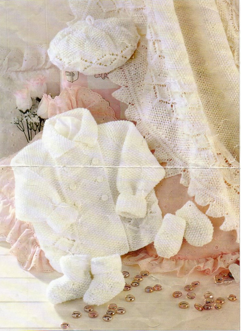 47759d1c7 Baby layette knitting pattern PDF baby collar coat square
