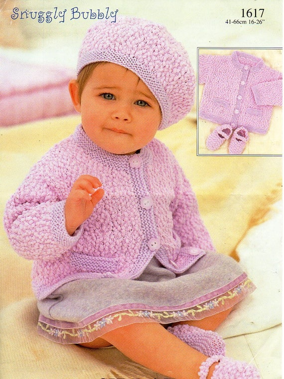 08f607169 baby jacket hat shoes knitting pattern pdf download baby girls cardigan  Mary Janes beret 16-26