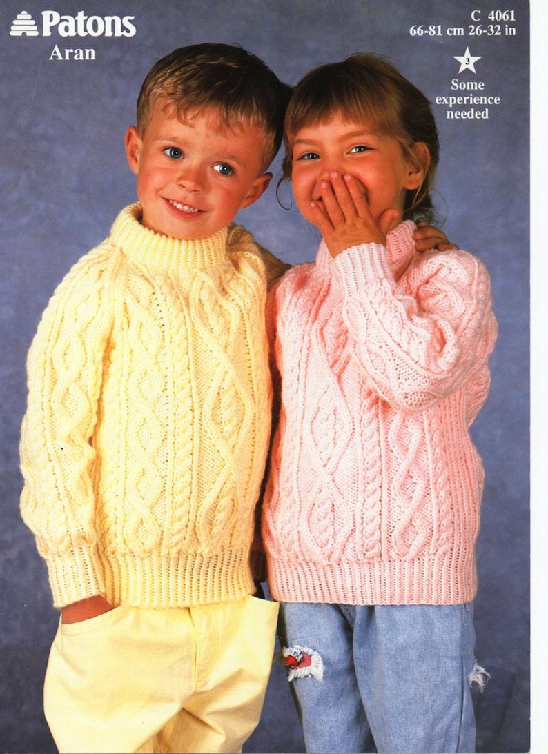 b864172c7 Childrens Knitting Pattern childrens aran sweater aran jumper