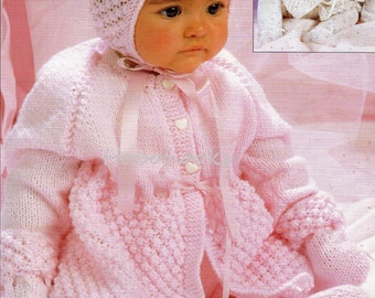 Baby knitting pattern pdf baby pram set baby coat leggings pullups bonnet mitts baby girls matinee 18-20 inch DK pdf instant download