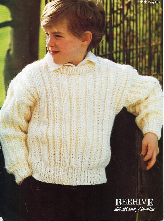 Childrens Sweater Knitting Pattern Pdf Childs Chunky Jumper Etsy