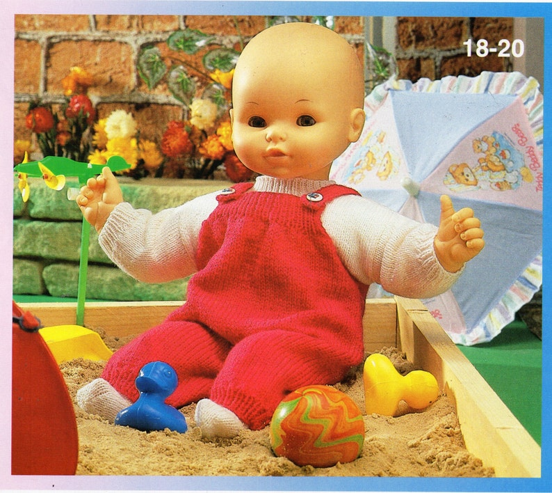 f26c79ee6 Baby dolls clothes knitting pattern dolls dungarees sweater